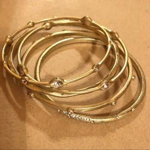 Lia Sophia Gold Bracelet Bangles Set of 5